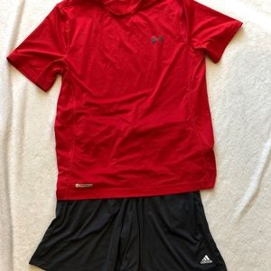 Red Under Armour Shirt and Adidas shorts, Large